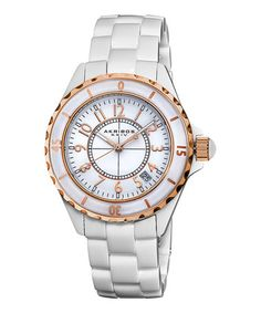 Take a look at this White & Rose Gold Crystal Ceramic Watch by Akribos XXIV on #zulily today!