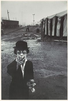 Bruce Davidson (American, born 1933). Clown and Circus Tent, 1958. The Metropolitan Museum of Art, New York. Gift of Photography in the Fine Arts, 1959.
