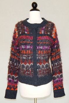 FREE PEOPLE Charcoal Gray Colorful Nordic Fuzzy Snap Frnt Cardigan Sweater NEW M #FreePeople #Cardigan #Casual