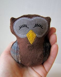 Mini Plush Owl --  Woodland -- Brown Plaid Flannel -- Baby Tiny. $5.00, via Etsy.