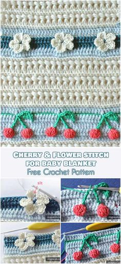 Cherry and Flower Stitch for Baby Blanket Free Crochet Pattern. This great stitch will give you a whole new world of opportunity to crochet beautiful baby blankets, and not only them. These beautiful flowers and cherries form a gorgeous and child-safe decorative motif, against a background of textured stitching.#freecrochetpatterns #edging #babyblanket