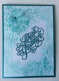 3D Embossing folder Ring Out The Bells from Crafters Companion. Used Teal metallic building wax. Sentiment from Creative Expressions.