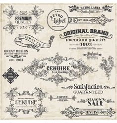 Page decoration vintage frame collection vector 1119498 - by woodhouse84 on VectorStock®