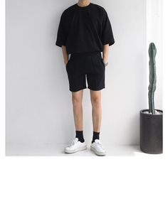 : Buy Real Boy Short-Sleeve Crewneck T-Shirt Stylish Mens Fashion, Korean Fashion Men, Stylish Mens Outfits, Boy Fashion, Vintage Summer Outfits, Style Masculin, Mens Clothing Styles, Dr. Martens, Streetwear Fashion
