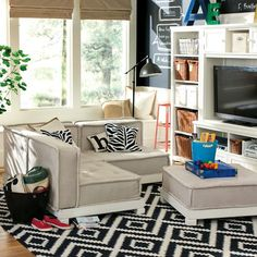 This couch set looks like something to sink into. It is soft suede with cinches in it and the pillows go well with it. It's funky with a sense of sophistication. #PBTEEN