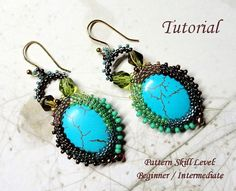 Beading tutorial instructions - beadweaving seed bead pattern beaded jewelry - LAGOON beadwoven earrings