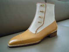 """Anthony Delos. A handmade balmoral boot, made for the """"French Shoemaker of the year"""" competition. Calf + cloth, Norvegese construction"""