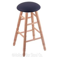 "Holland Bar Stool 24"" Swivel Bar Stool Finish: Natural Oak, Upholstery: Allante Dark Blue"
