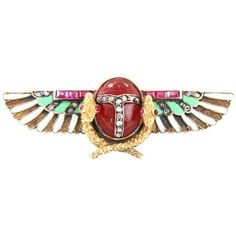 Pre-owned Carl Bacher Egyptian Revival Enamel Ruby Diamond Gold Brooch ($5,541) ❤ liked on Polyvore featuring jewelry, brooches, egypt, pre owned jewelry, diamond jewellery, egyptian jewelry, preowned jewelry and egyptian gold jewelry