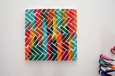 Create an unusual pattern with painters tape on canvas http://www.handimania.com/diy/chevron-pattern-taped-canvas.html