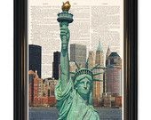 Statue of Liberty New York  dictionary art print. New York Cityscape on Vintage Dictionary Paper. Buy any 3 prints get 1 FREE!