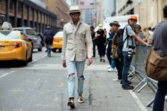 http://chicerman.com  billy-george:  Amazingly dapper  New York Fashion Week: Mens  Photo by Marcy Swingle  #streetstyleformen