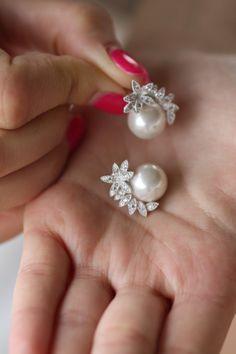 Pearl Earrings, Pearl Posts, Cubic Zirconia Earrings, Leaf Studs, Branch, Bridal Pearl Studs, Pearl Posts, Crystal Posts