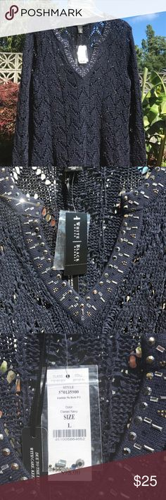 WHBM L NAVY BLUE SUMMR SWEATER NWT SWEATER. Pretty cut out along chest with added bling. Color has slight specks of silver in thread. Hard to capture. Perfect for a Med wanting it a bit larger. White House Black Market Sweaters Crew & Scoop Necks