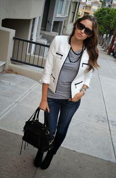 business casual. (www.justjem.com).  Need black necklace to wear w Grau top.