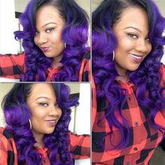 I love purple hair Sew In Hairstyles, Goddess Hairstyles, Pretty Hairstyles, Men Hair Color, Pretty Hair Color, Hair Colour, Love Hair, Gorgeous Hair, Locks