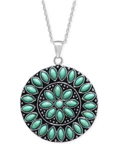 Manufactured Turquoise Circle Pendant Necklace in Sterling Silver - Necklaces - Jewelry & Watches - Macy's