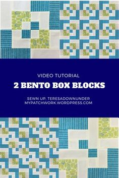Video tutorial: 2 Bento box quilt blocks – quick and easy (Sewn up, TeresaDownUnder) Box Patterns, Quilt Patterns Free, Pattern Blocks, Blanket Patterns, Pattern Ideas, Quilting For Beginners, Quilting Tips, Quilting Tutorials, Modern Quilting