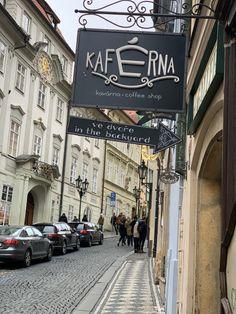 Local coffee shop hidden between art stores in Prague Solo Travel, Time Travel, Tourist Info, Dublin Airport, Visit Prague, Old Town Square, Prague Castle, Beautiful Streets, Bus Stop