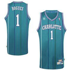 Mens Charlotte Hornets Muggsy Bogues adidas Teal Hardwood Classics Swingman  Jersey b76d0c76e