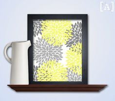 Yellow and Gray Flower Printable - Flower Wall Decor - Yellow Gray Printable on White Background - Flower Printable Art - INSTANT DOWNLOAD