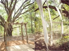 handmade wooden pergola draped with spanish moss, ceremony altar, windowpanes hanging in the trees-- the Spanish moss reminds me of Georgia!