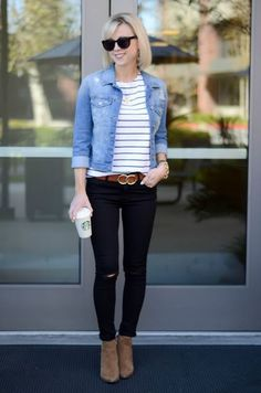 Striped Tee, Denim Jacket, Black Jeans | On the Daily EXPRESS