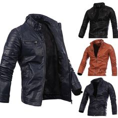 MEANIT Mens Casual Zip Up Plus Velvet Slim Bomber Faux Leather Jacket