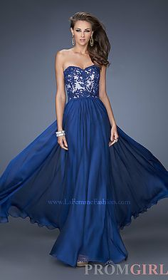 Strapless Evening Gown by La Femme 19605 at PromGirl.com A-Line