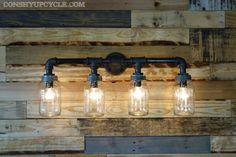 Four Ball Mason Jar Wall Sconce Light Black Iron Industrial Steampunk Style