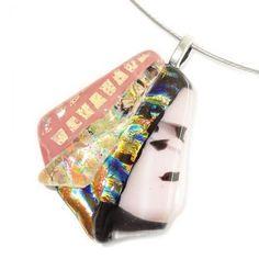 Glashanger handgemaakt van speciaal roze, geel/oranje en zwart gekleurd glas.