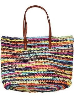 Straw Tote at Old Navy. All the fun colors in this would go with any outfit. I see this and myself at the beach very soon:)