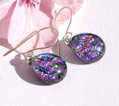 Vivid Mauve Dichroic Glass Dangle Earrings on 925 Sterling Silver Earwires - Fused Glass Jewelry - Art Glass Drop Earrings by TremoughGlass on Etsy