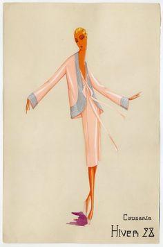 Jeanne Lanvin, Causerie, 1928, Sketch, gouache on paper