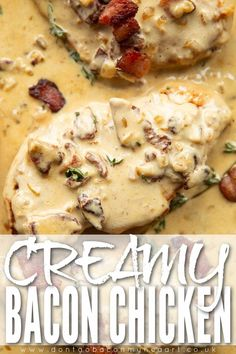 Cream Chicken, Chicken Bacon, Chicken Breast With Bacon, Chicken Tender Recipes, Diner Recipes, Yummy Recipes, Cooking Recipes, Chicken Breasts, My Favorite Food