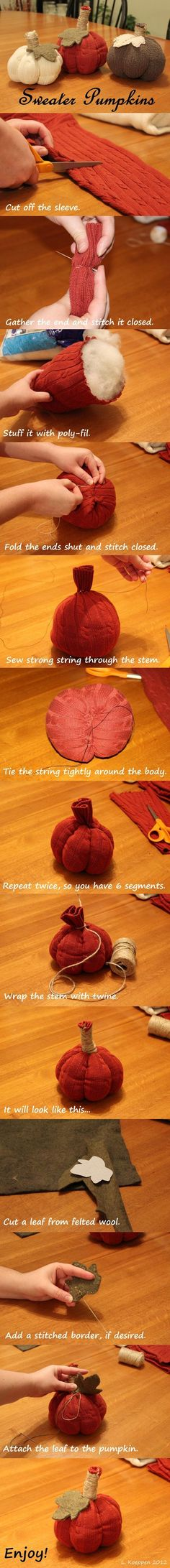 Easy No Sew Pumpkins from Old Sweaters.                                                                                                                                                                                 More