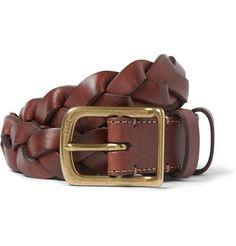 Polo Ralph Lauren3cm Brown Braided Leather Belt