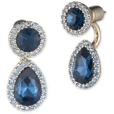 Ivanka Trump Faceted Floater Earrings ($42) ❤ liked on Polyvore featuring jewelry, earrings, blue, pave drop earrings, drop earrings, blue drop earrings, pave earrings and earring jewelry