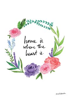 drawingmyselfonepixelatatime:  Home is Where the Heart is Floral Wreath - Handmade Ink Illustration Print
