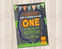 ONE First Birthday Lion Banner Chalkboard Invitation by PureDesignGraphics on Etsy Chalkboard Invitation, Wild Ones, Have Some Fun, Custom Invitations, I Am Happy, The One, Rsvp, First Birthdays, Card Stock