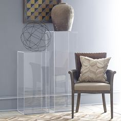 This pedestal can showcase your piece of art very well. Since the pedestal is out of clear acrylic the art piece is what you see and not the furniture it is sitting on. Lucite Furniture, Acrylic Furniture, Furniture Decor, Modern Furniture, Furniture Design, Pedestal, Interior Styling, Interior Decorating, Interior Design