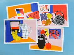 Fruit still-life, risograph prints on Etsy