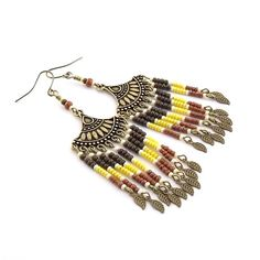 Southwestern Earrings  Brick Yellow Brown and by CinLynnBoutique
