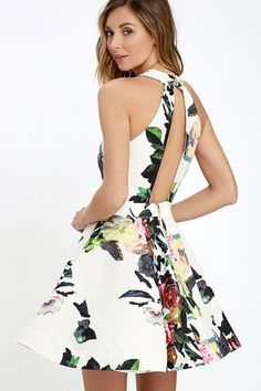 Bloom it May Concern Ivory and Pink Floral Print Dress at Lulus.com!