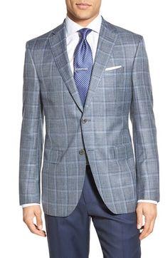 Classic Fit Windowpane Wool, Silk & Linen Blend Sport Coat