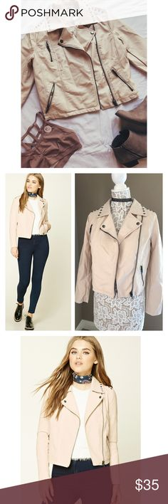 Blush motto jacket Blush color is in this season. This trendy motto studded jacket features asymmetrical zip up front. Cushioned lining. Slanted zipper pockets. Zippers on sleeves. Faux leather. Fits like a size  6. Has a very slight pen stain on sleeve. It's barely noticeable to the naked eye but I thoroughly examine all my items. Nwt Forever 21 Jackets & Coats