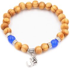 Censtusllery Fashion Alloy Letter 8MM Wood Crystal Beads Elastic Bracelet Bangle -- Awesome products selected by Anna Churchill