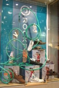 window display ideas - maybe do something like this in the summer with pillows