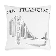"Passport 18"" Square Postcard Toss Pillow - San Francisco - BedBathandBeyond.com"