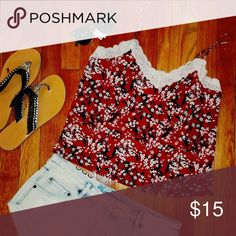 Red cherry blossom tank Beautiful red camisole tank with cherry blossom design.  Price is firm. H&M Tops Camisoles